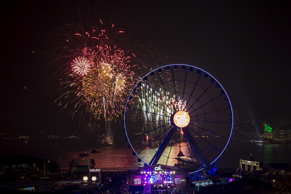 Fireworks explode near the observation wheel during a pyrotechnic show to celebrate the New Year in Hong Kong